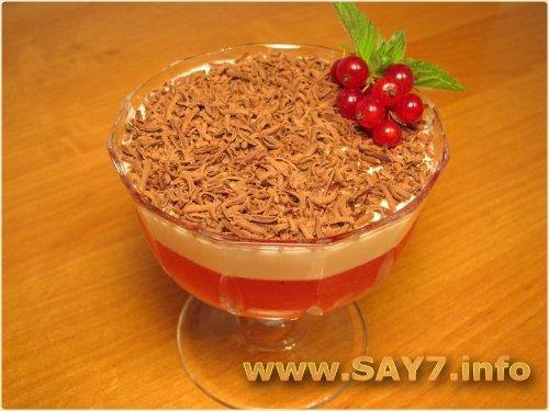 Десерт с красной смородиной и сливками