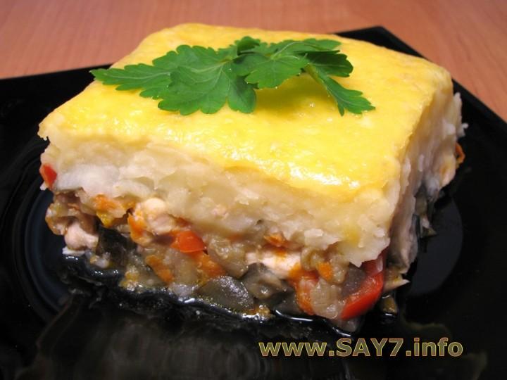 Рецепт Запеканка с куриным филе, овощами и картофельным пюре