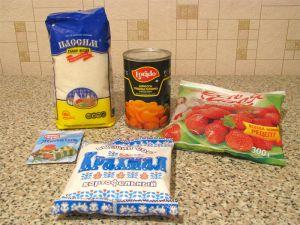 Абрикосовое желе с клубничным соусом. Ингредиенты