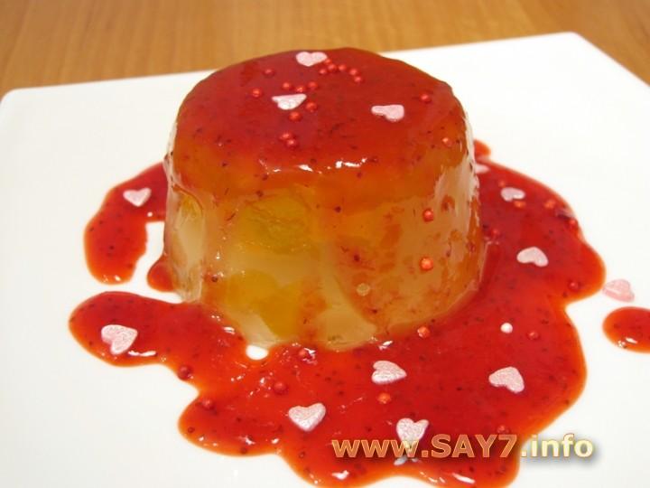 Рецепт Абрикосовое желе с клубничным соусом