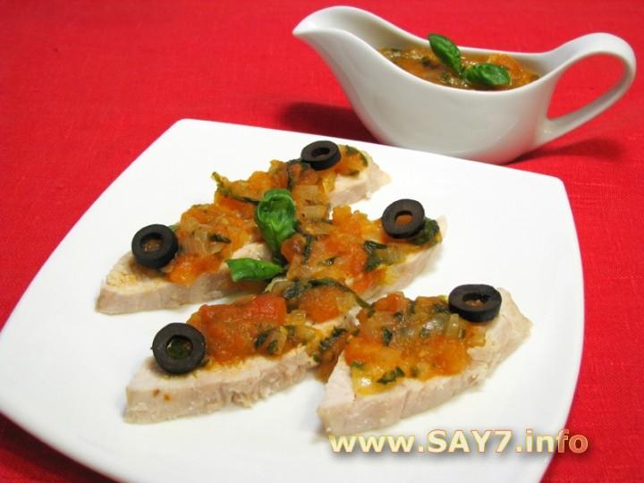 Рецепт Куриное филе под томатным соусом с базиликом