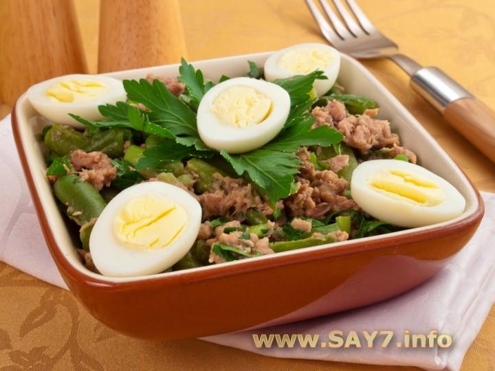 Рецепт Салат с тунцом и стручковой фасолью