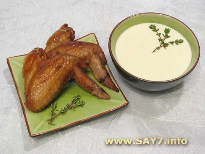 Рецепт Крылышки с соусом из сыра с благородной плесенью