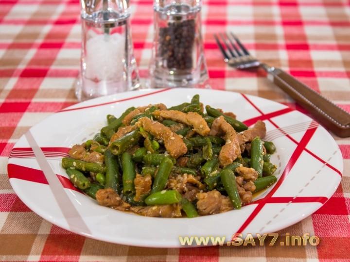 Рецепт Свинина, жаренная со стручковой фасолью и кунжутом