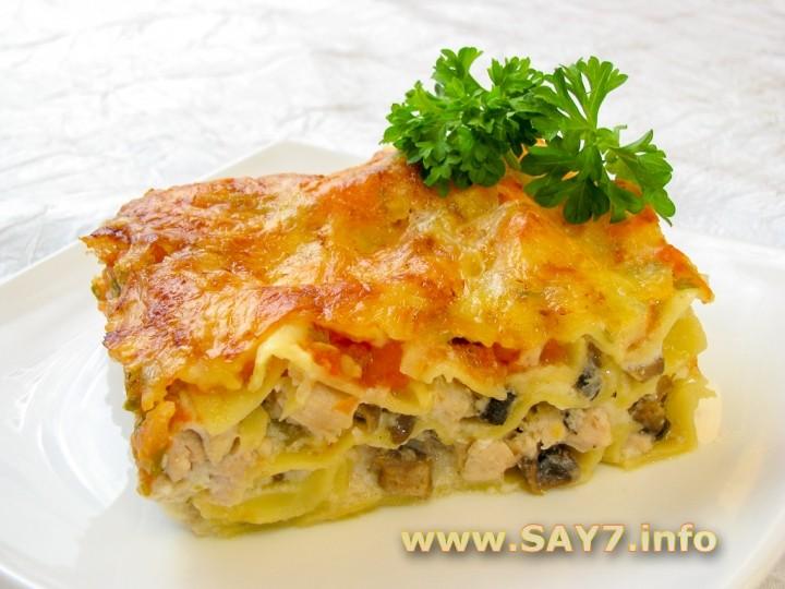 Рецепт Лазанья с грибами и куриным филе