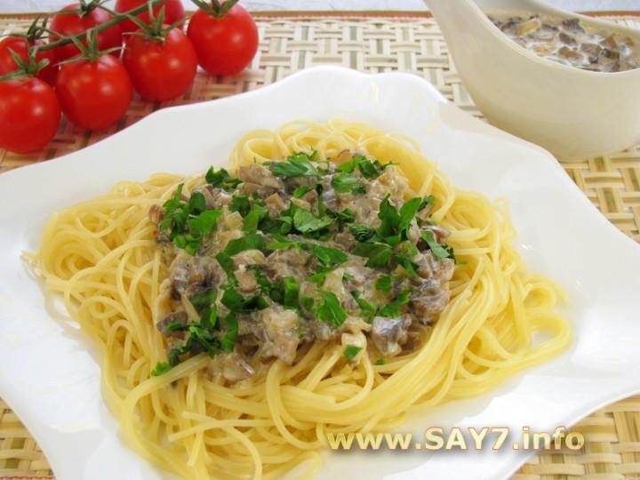 Рецепт Спагетти с грибным соусом