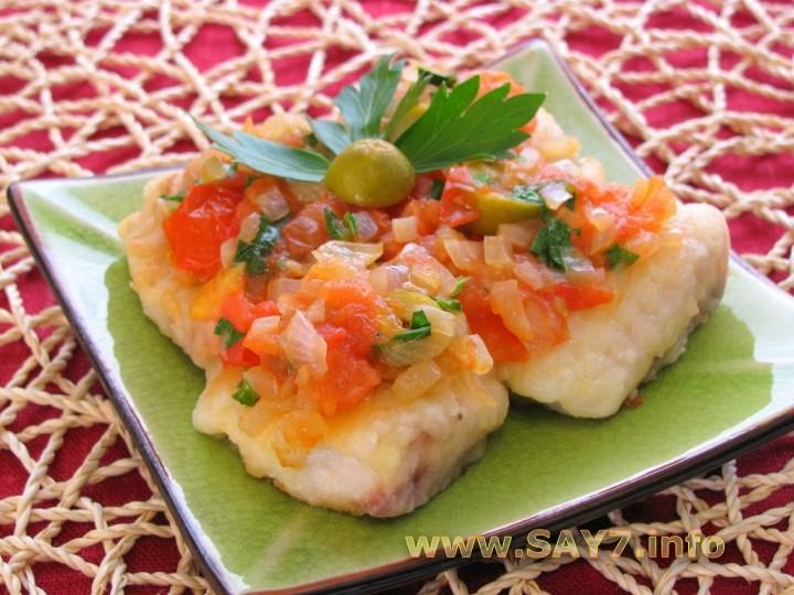Рецепт Рыба в томатном соусе с оливками