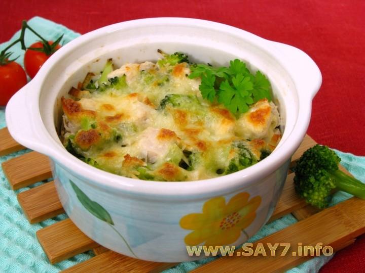 Рецепт Куриное филе и брокколи, запеченные под сливочным соусом