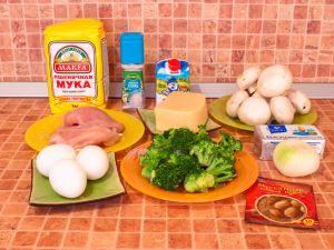 Лоранский пирог с курицей, грибами и брокколи. Ингредиенты