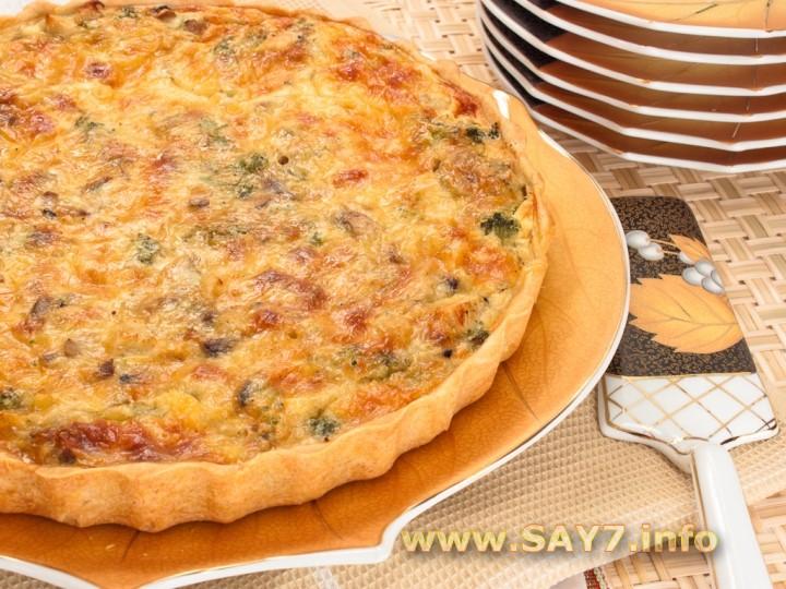 Рецепт Лоранский пирог с курицей, грибами и брокколи