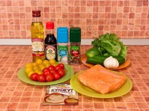 Салат с запеченной семгой и овощами. Ингредиенты