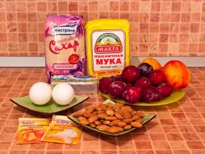 Пирог с фруктами и миндальным штрейзелем. Ингредиенты