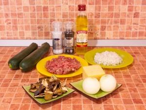 Цуккини, фаршированные мясом, грибами и рисом. Ингредиенты