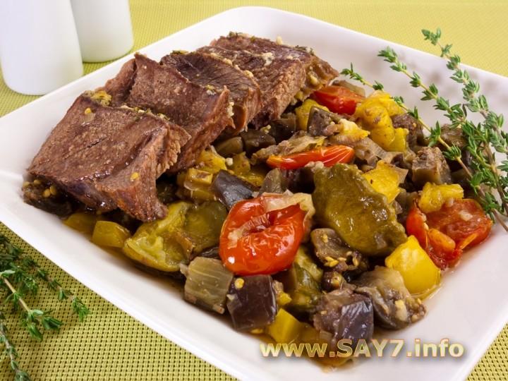 Рецепт Баранина с овощами, запеченная в рукаве