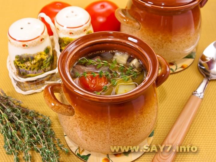 Рецепт Суп с бараниной и овощами в горшочке