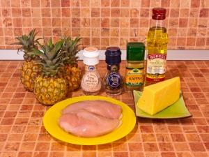 Ананасы, фаршированные куриным филе, запеченные под сыром. Ингредиенты