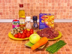Тарталетки с печеночным муссом, перепелиными яйцами и помидорами черри. Ингредиенты
