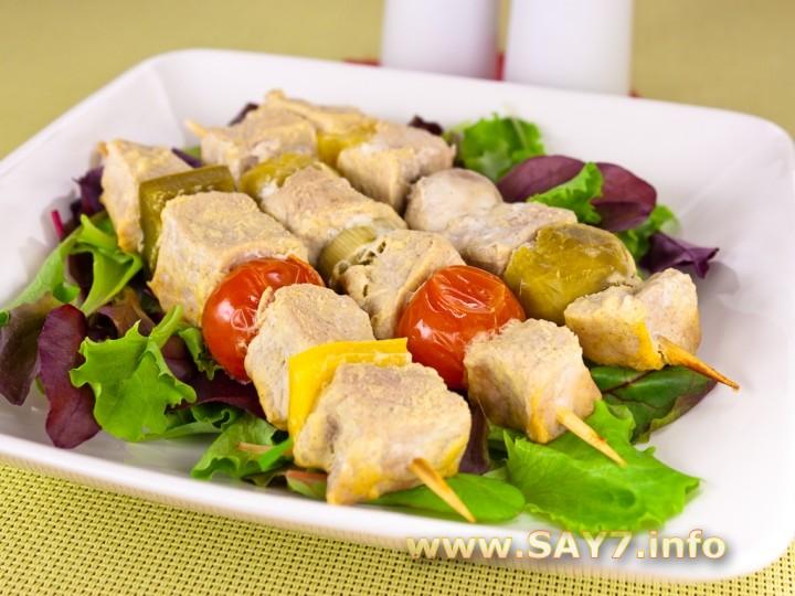 Рецепт Шашлычки из свинины с овощами и грибами