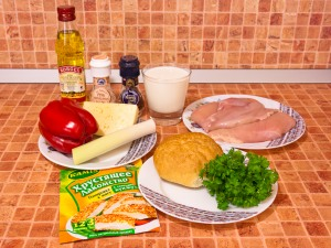 Котлеты с куриным филе, сыром и болгарским перцем. Ингредиенты