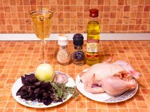 Цыпленок в белом вине с ароматными травами. Ингредиенты