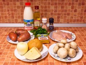 Запеканка с куриным филе, грибами и картофельным пюре. Ингредиенты