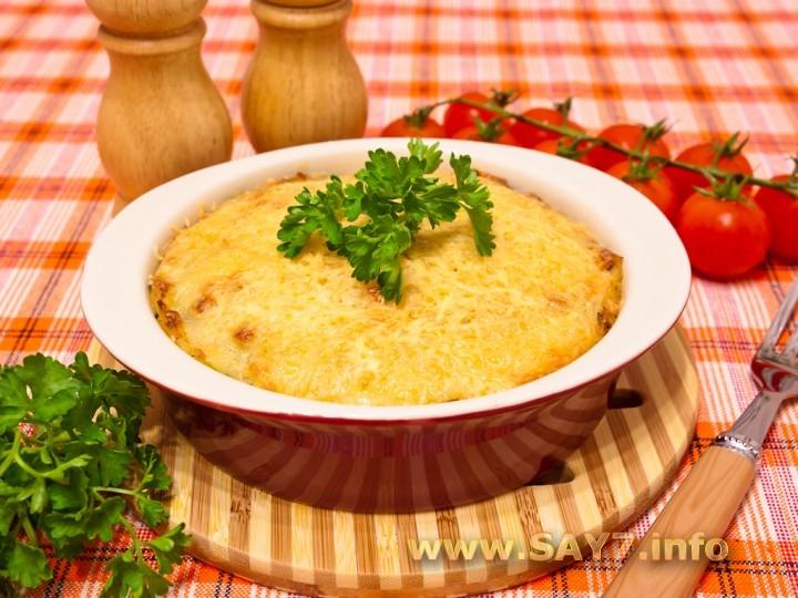 Рецепт Запеканка с куриным филе, грибами и картофельным пюре