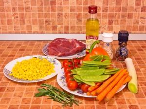 Говядина, запеченная с овощами. Ингредиенты
