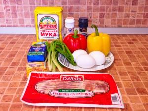 Маффины с беконом и болгарским перцем. Ингредиенты