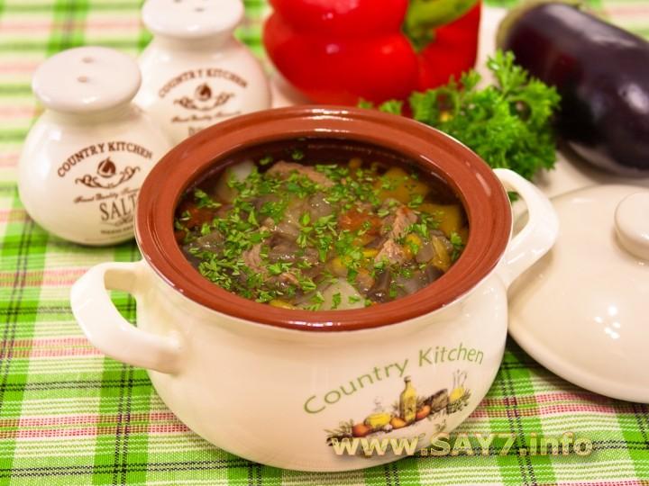Рецепт Суп в горшочке с говядиной и овощами
