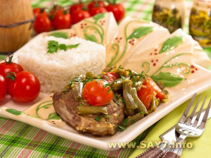 Рецепт Баранина, тушенная со стручковой фасолью и помидорами