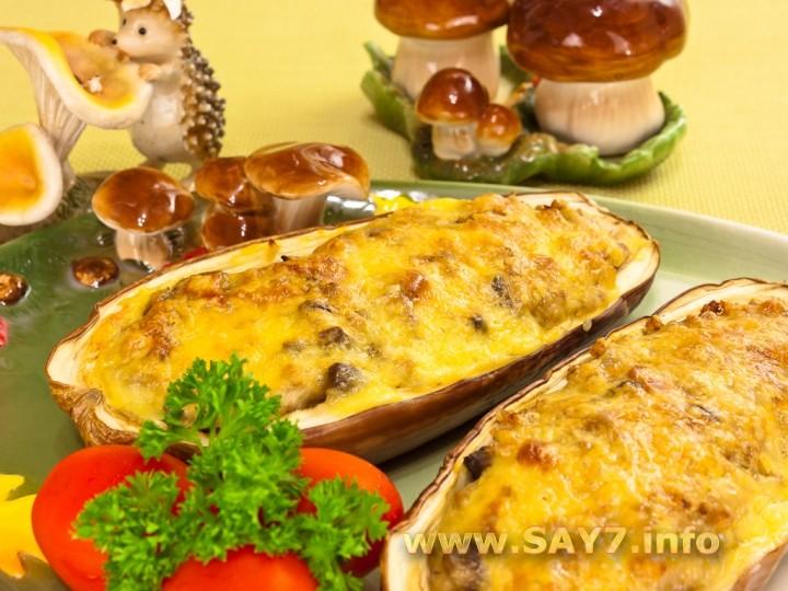 Рецепт Баклажаны, фаршированные гречкой, грибами и беконом