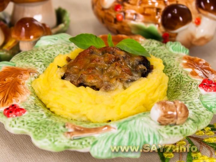 Рецепт Гнездышки из картофеля с грибами