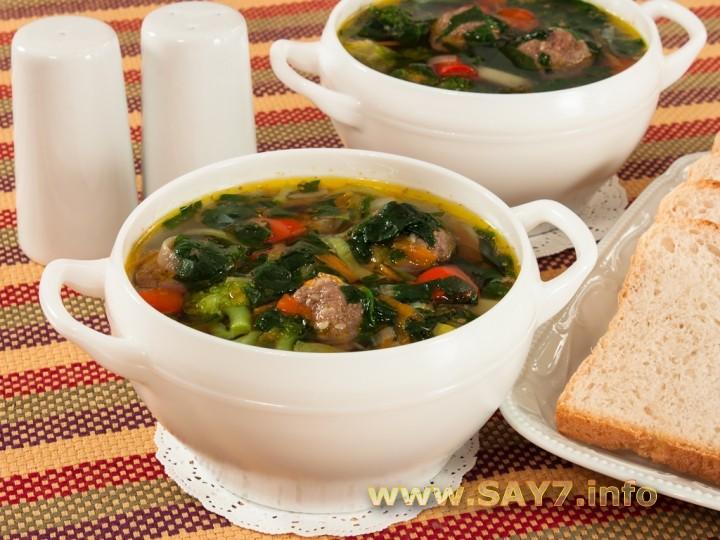 Рецепт Суп с фрикадельками и шпинатом