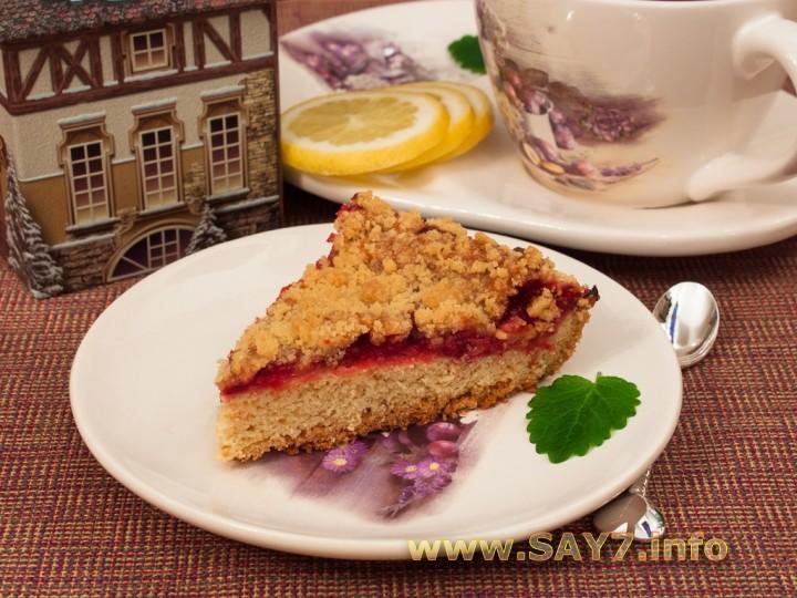 Рецепт Пирог с брусникой, лимоном и штрейзелем