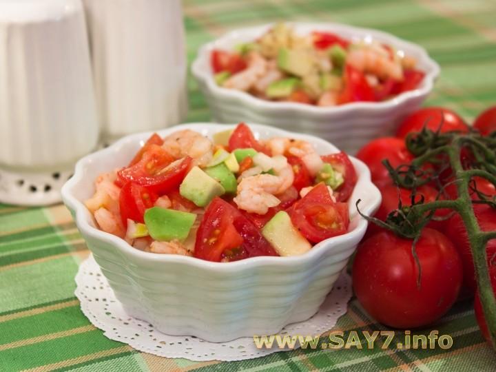 Рецепт Салат с авокадо, креветками и черри