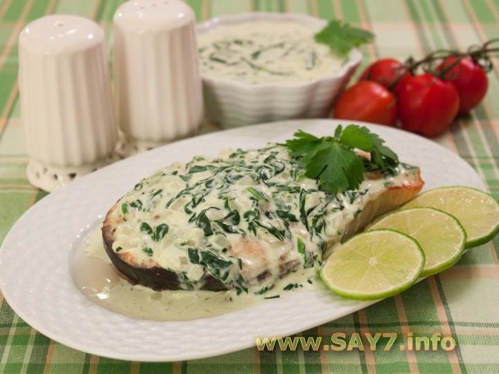Рецепт Запеченная семга под шпинатным соусом