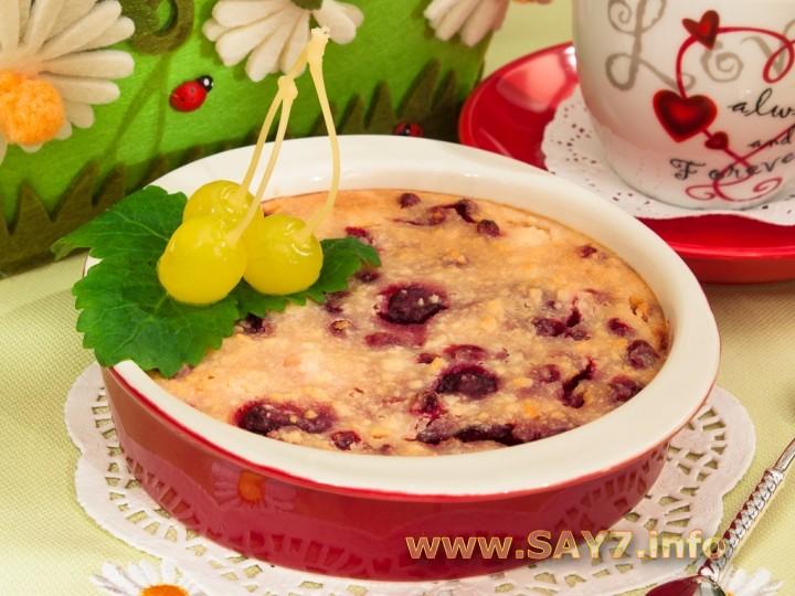 Рецепт Творожная запеканка с ягодами (без муки)