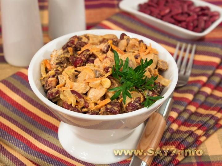 Рецепт Салат с печенью, фасолью и маринованными грибами