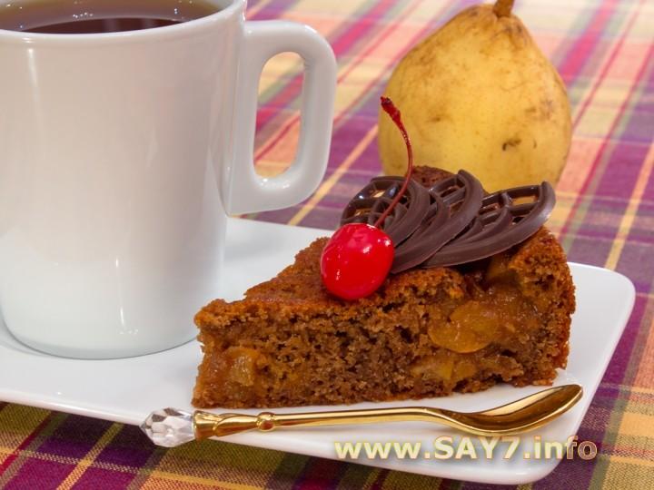 Рецепт Шоколадный пирог с карамелизированными грушами