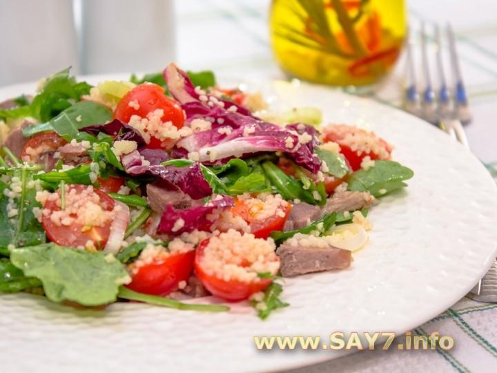 Рецепт Салат с мясом, кускусом и черри