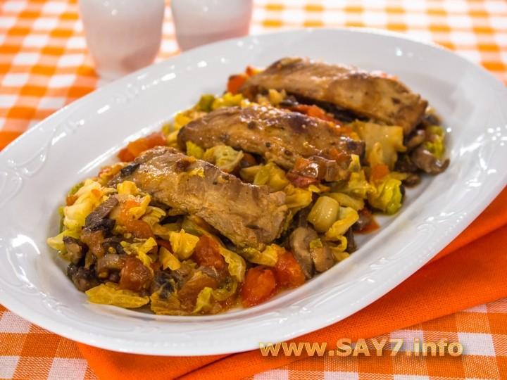 Рецепт Ребрышки с савойской капустой и грибами