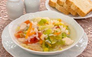 Суп с савойской капустой и рисом