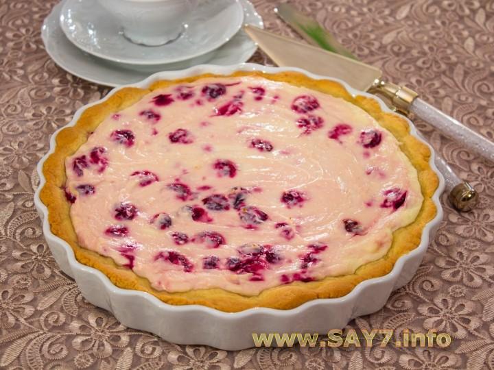 Рецепт Пирог с творожно-вишневым кремом