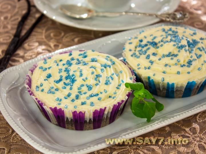 Рецепт Черемуховые кексы со сливочным кремом