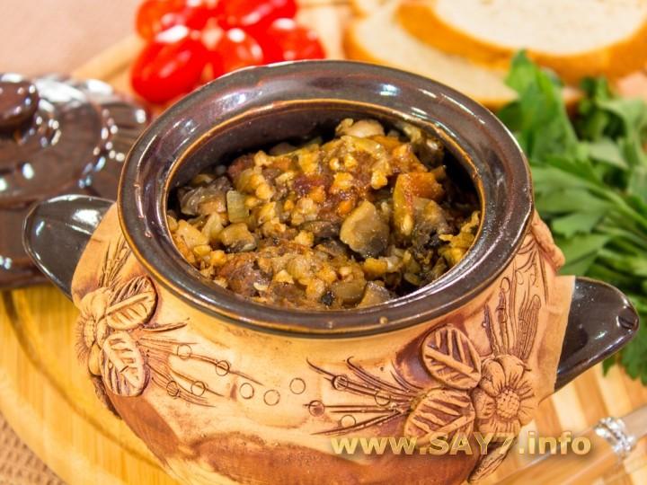Рецепт Утка с гречкой в горшочках