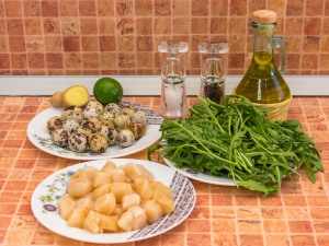 Салат с морскими гребешками и рукколой. Ингредиенты