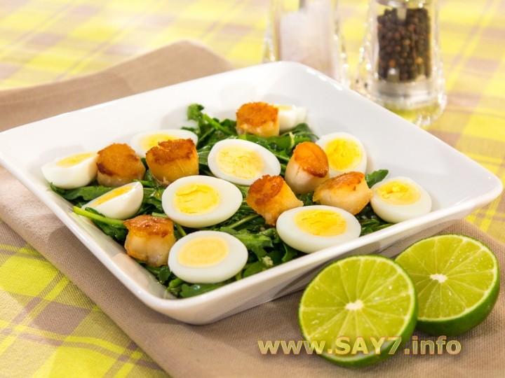 Рецепт Салат с морскими гребешками и рукколой