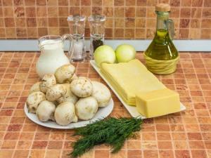 Тарты с грибами под сметанно-сырным соусом. Ингредиенты