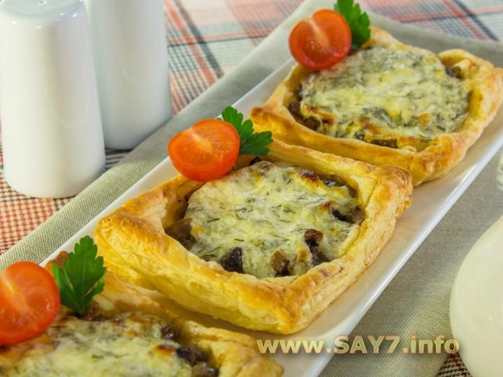 Рецепт Тарты с грибами под сметанно-сырным соусом