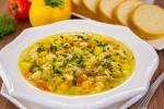 Суп с овощами, макаронами и куриным филе